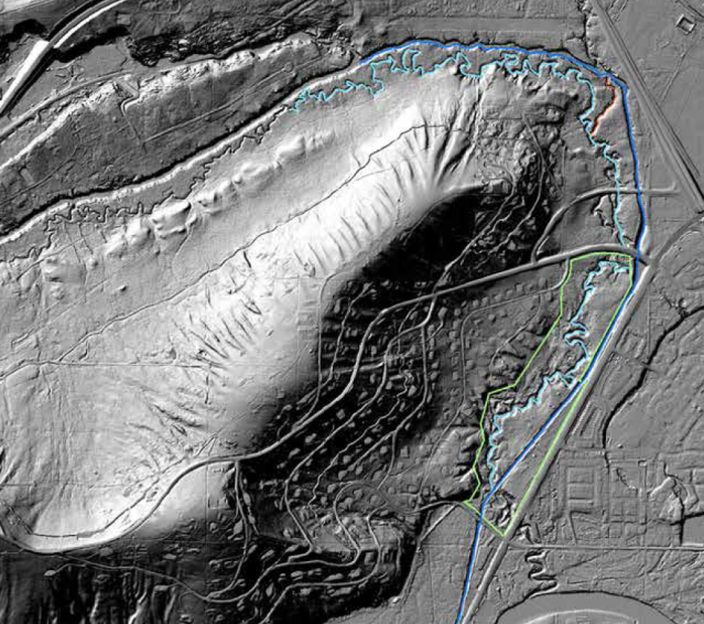 LIDAR image of Cripple Creek shows the difference between the historic channel and the Drain.